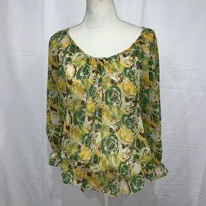 🍄Anne Klein sheer floral peasant boho blouse